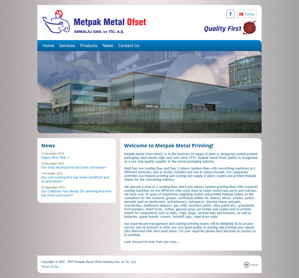 Web Design, Metpak Metal Offset Inc.