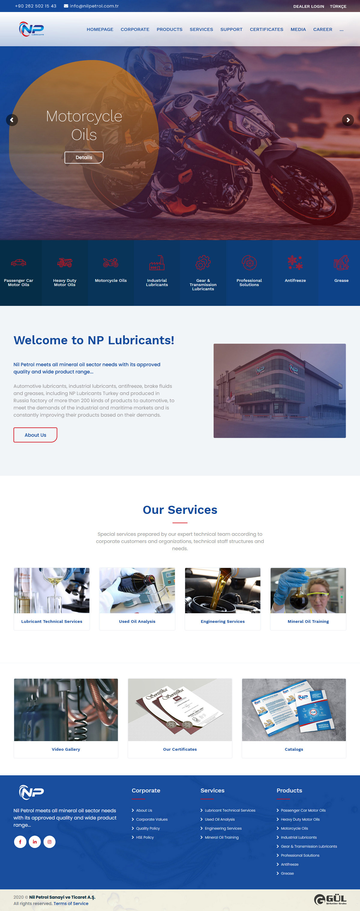Web Design, NP Lubricants Industry and Trade Inc.